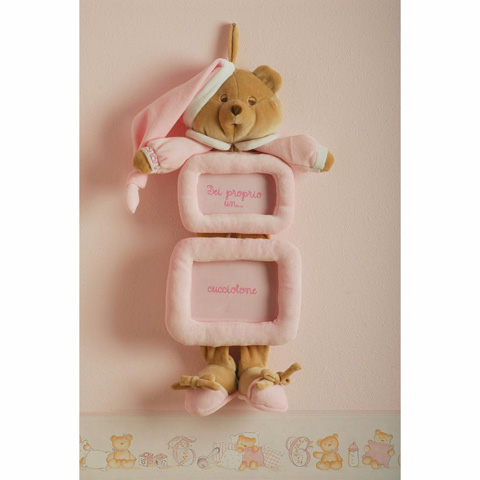 Abbigliamento e idee regalo - Portafoto a muro doppio, Puccio - cm. 18 x 18 rosa [1220R] by Nanan