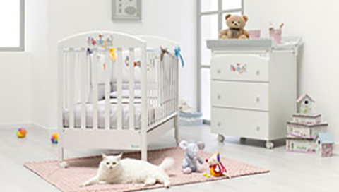 Camerette complete - Lettino Babymiao + Bagnetto Babymiao + Piumone 3 pz. Babymiao Bianco - piumone bianco by Azzurra Design