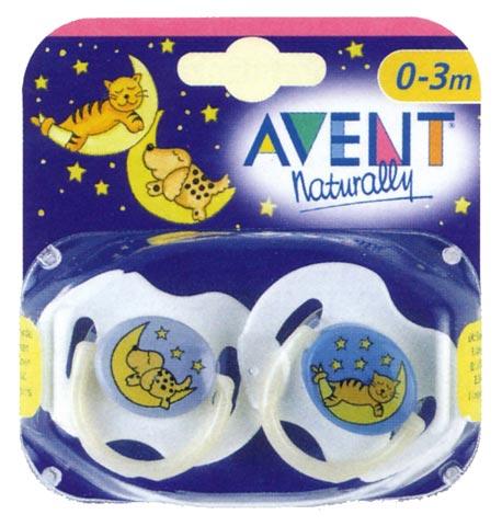 Biberon e succhiotti - Succhietti in silicone [confezione doppia] 0-3 mesi, Notturni [5333 SCF123/17] by Avent