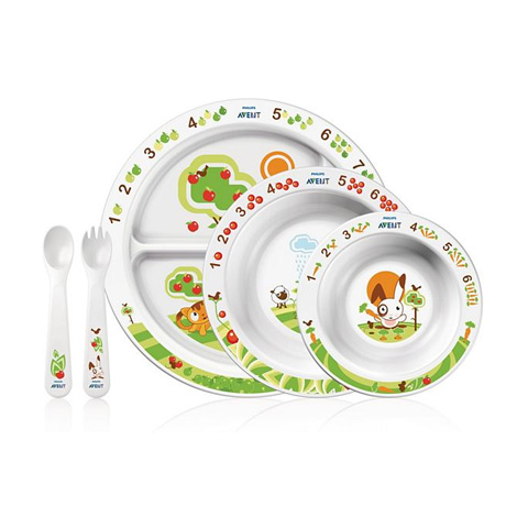 Stoviglie decorate - Set completo pappa per bimbi SCF716/00 by Avent