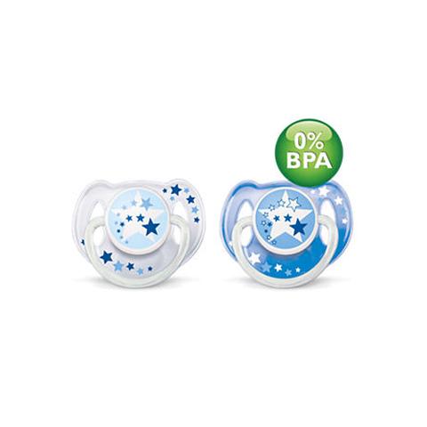 Biberon e succhiotti - 2 Succhietti notturni - no BPA - silicone 6+ mesi [SCF176/22] by Avent
