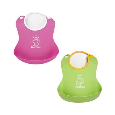 Altri accessori per il neonato - Bavaglino morbido Rosa e verde 2 pezzi by Baby Bjorn
