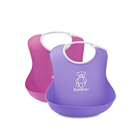Altri accessori per il neonato - Bavaglino morbido Rosa e viola 2 pezzi by Baby Bjorn