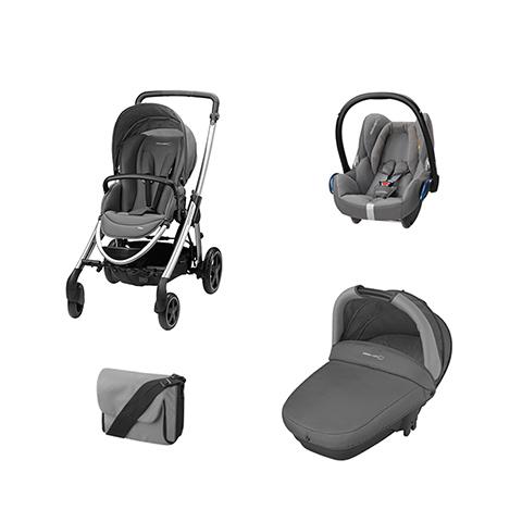 Modulari (DUO e TRIO) - [TRIO] Elea + Navicella Compact + CabrioFix + borsa Concrete Grey by Bébé Confort