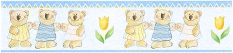Complementi e decori - Bordure in blister [rotolo] 02042 - Bear Brothers blu by Crearreda
