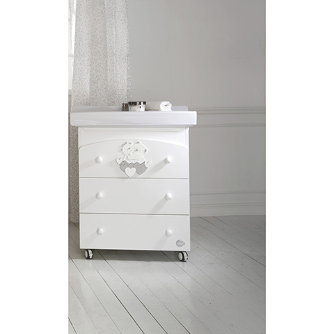 Cassettiere fasciatoio - Bagnetto Tenerezze Bianco-argento by Baby Expert