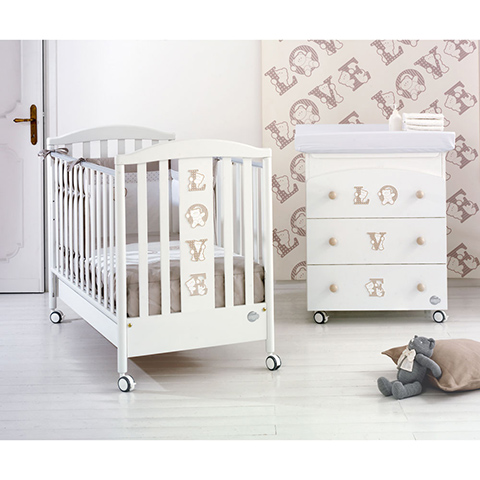 Offerte in corso - Set lettino Baby Love + cass.fasc. Baby Love + piumone Love Bianco by Baby Expert