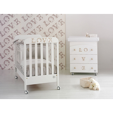 Offerte in corso - Set lettino Love + cass.fasc. Love + piumone Love Bianco by Baby Expert