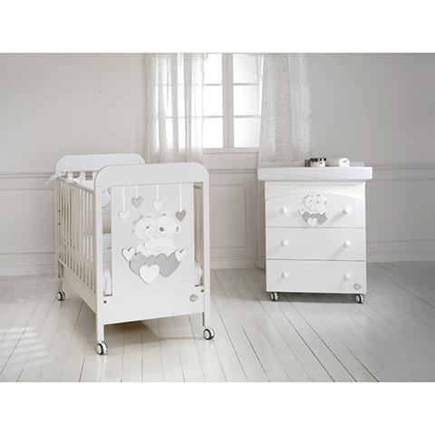 Offerte in corso - Set lettino Tenerezze + cass.fasc. Tenerezze + piumone Tenerezze Bianco-argento by Baby Expert