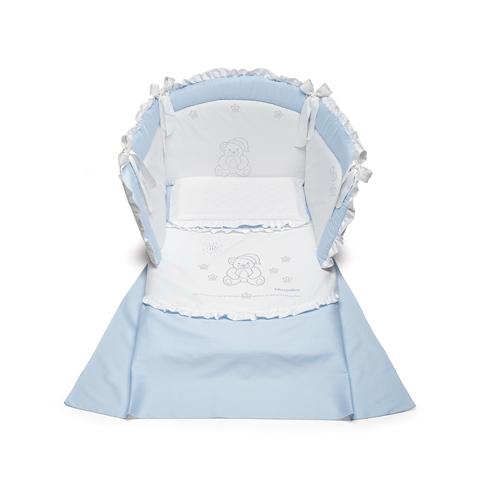 Coordinati tessili - Buonanotte Bianco - azzurro by Billo e Pallina