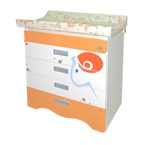 Cassettiere fasciatoio - Cassettiera fasciatoio Bagnetto Zodiaco Ariete con sistema antiribaltamento avorio arancio by NCR arredo baby
