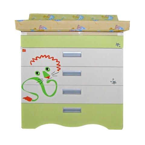 Cassettiere fasciatoio - Cassettiera fasciatoio Bagnetto Zodiaco Leone con sistema antiribaltamento avorio verde by NCR arredo baby