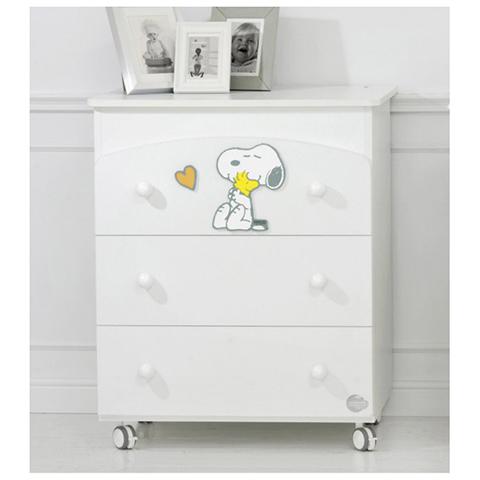 Cassettiere fasciatoio - Bagnetto Snoopy Bianco/Color cuore arancio by Baby Expert