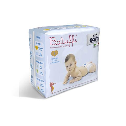 Il cambio (pannolini, etc.) - Pannolini Batuffi - Newborn - 2-5 Kg. Newborn [2-5 Kg.] - 22 pezzi by Cam
