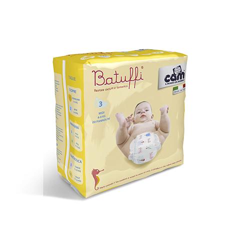 Il cambio (pannolini, etc.) - Pannolini Batuffi - Midi - 4-9 Kg. Midi [4-9 Kg.] - 20 pezzi by Cam