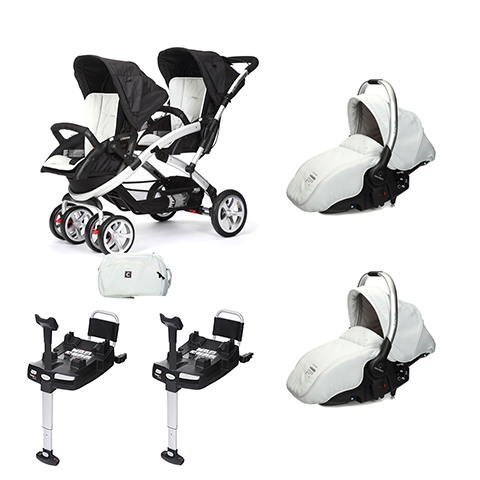 Linea gemellare - [DUO] S-twinner + Navicella Sono e base Isofix Ice [957] by Casual Play