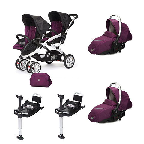 Linea gemellare - [DUO] S-twinner + Navicella Sono e base Isofix Plum [992] by Casual Play