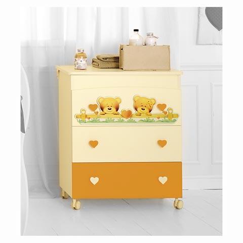 Cassettiere fasciatoio - Cassettiera fasciatoio Bagnetto Cuore Panna e arancio by Baby Expert