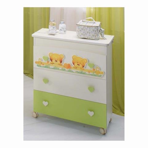 Cassettiere fasciatoio - Cassettiera fasciatoio Bagnetto Cuore Panna e verde by Baby Expert