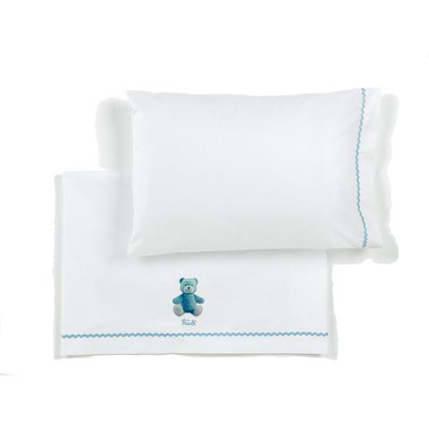 Coperte, lenzuolini e paracolpi - Completo lenzuolino carrozzina ricamato Trudi Cremino 002 azzurro by Somma