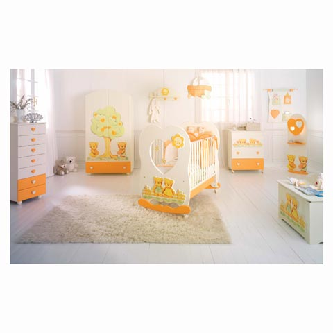 Camerette complete - Cameretta Cuore Panna e arancio by Baby Expert