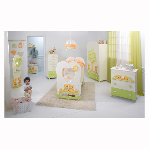 Camerette complete - Cameretta Cuore Panna e verde by Baby Expert