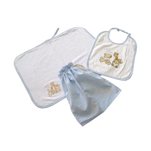Abbigliamento e idee regalo - Set asilo 3 pezzi Bianco-Celeste by Tic Tac Toe