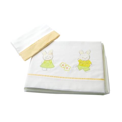 Coperte, lenzuolini e paracolpi - Completo 3 pz. lenz. lettino ricamato - Poppi Coniglietti mandarino by MIBB