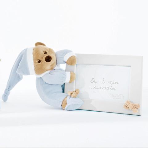 Abbigliamento e idee regalo - Portafoto in legno Puccio azzurro/bianco cm. 18x13 [1210A] by Nanan