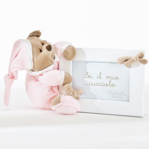 Abbigliamento e idee regalo - Portafoto in legno Puccio rosa/bianco cm. 18x13 [1210R] by Nanan