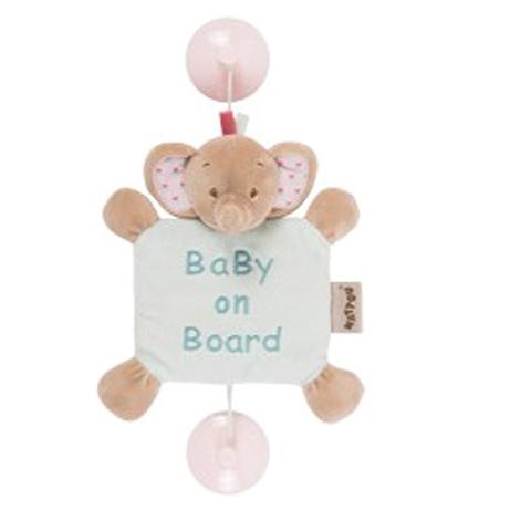 Accessori per il viaggio del bambino - Bebe a Bordo con ventosa - Rose Elefante 655354 by Nattou