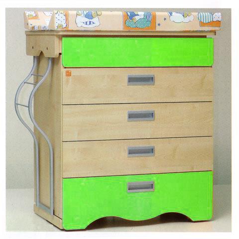 Cassettiere fasciatoio - Cassettiera fasciatoio Bagnetto Tenero Matic con sistema antiribaltamento IV cassetto verde - estrazione a sinistra by NCR arredo baby