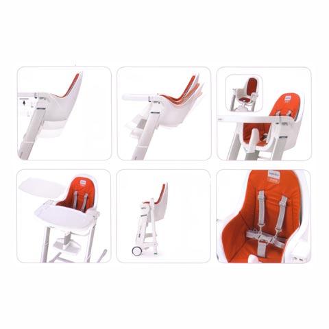 chaise haute zuma m 39 home leatherette orange cadre blanc. Black Bedroom Furniture Sets. Home Design Ideas