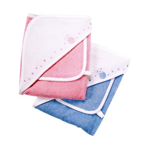 Abbigliamento e idee regalo - Accappatoio quadrato spugna piquet con asciugamano 0+ Rosa [4352.10] by Chicco