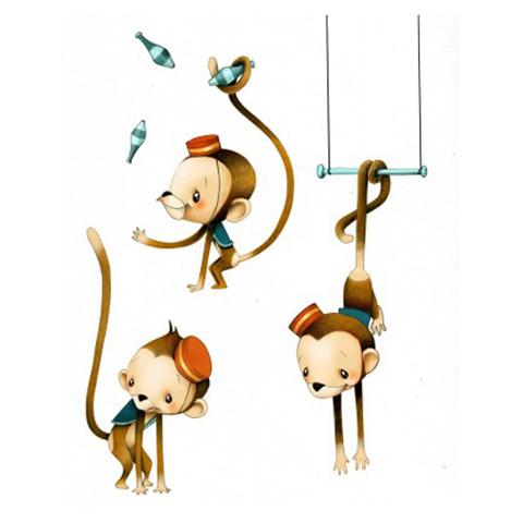 Complementi e decori - Scimmiette acrobate cm. 60 x 110 [PGB8] by Acte Deco