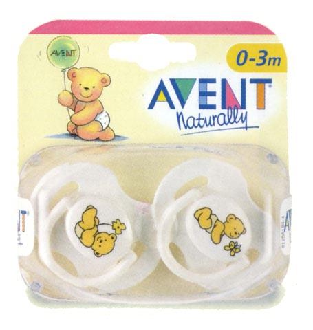 Biberon e succhiotti - Succhietti in silicone [confezione doppia] 0-3 mesi, Teddy [5616 SCF121/11] by Avent
