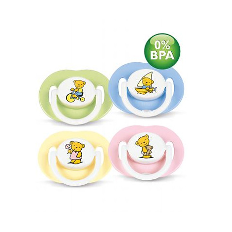 Biberon e succhiotti - Succhietti in silicone [confezione doppia] 3+ mesi, Teddy [SCF174/21] senza BPA - femmina by Avent