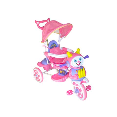 Giocattoli 12+ mesi - Triciclo Robottino con asta guida e capote Rosa by Baby Zone