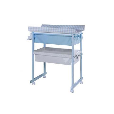 Bagnetti fasciatoio - Bagnetto Plus con cesta di tessili - linea Basic Cielo riv. Vichy Azul by Micuna
