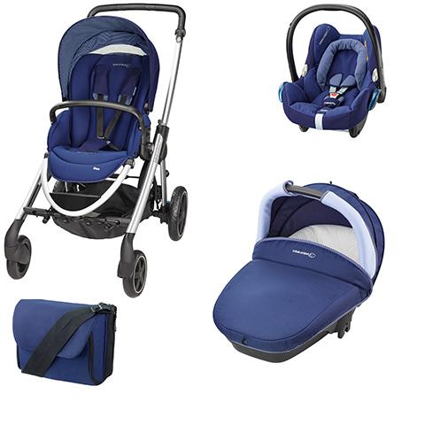 Modulari (DUO e TRIO) - [TRIO] Elea + Navicella Compact + CabrioFix + borsa River Blue by Bébé Confort
