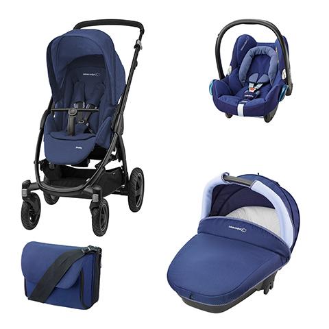 Modulari (DUO e TRIO) - [TRIO] Stella + Navicella Compact + CabrioFix + borsa River Blue by Bébé Confort