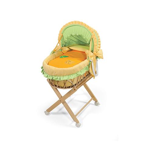 Culle complete - Cesta porta-enfant Cocco e Raffa c/cappotta, rivestimento e supporto Naturale-arancio by Billo e Pallina
