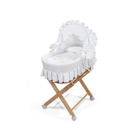 Culle complete - Cesta porta-enfant Family Bear con cappotta, rivestimento e supporto Naturale-bianco by Billo e Pallina