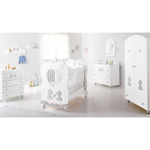 Camerette complete - Collezione Cuore di Mamma - linea Swarovski Bianco/Platino by Baby Expert