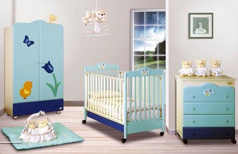 Lettini - Lettino Primo Fiore Panna/Azzurro/Blu [ad es.] by Baby Expert