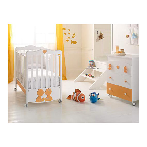 Offerte in corso - Set lettino Primo Amore + cass.fasc. Primo Amore bianco/arancio by Baby Expert