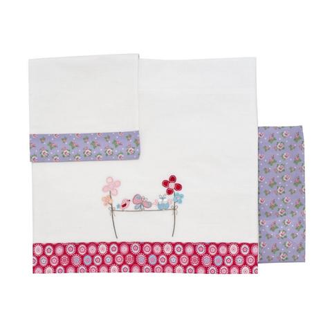 Coperte, lenzuolini e paracolpi - Set lenzuolini per lettino Garden Bianco-rosso-lilla [9010054] by Chicco