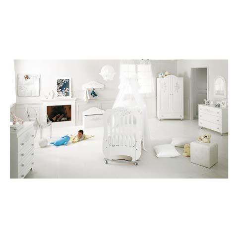Camerette complete - Cameretta Collezione Diamante - linea Swarovski Bianco/Argento by Baby Expert