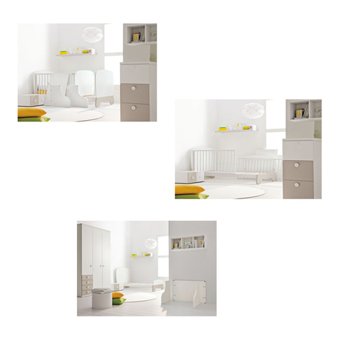 babybett kinderbett aus holz clown doimo cityline bianco tortora keine matratze ebay. Black Bedroom Furniture Sets. Home Design Ideas