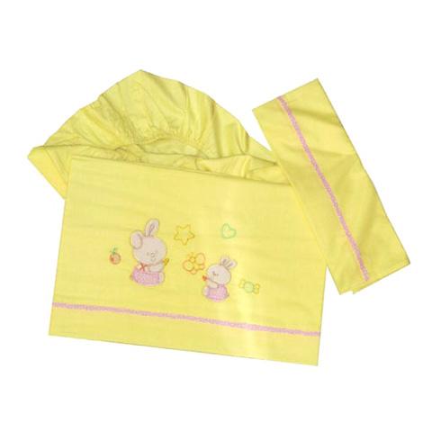 Coperte, lenzuolini e paracolpi - Set lenzuolini ricamato carrozzina/culla - Butterfly rosa by Somma
